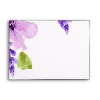 Pretty Purple Watercolor Floral Envelope