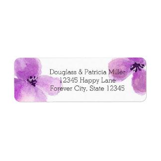 Pretty Purple Watercolor Floral Label