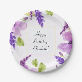 Pretty Purple Watercolor Floral Paper Plate