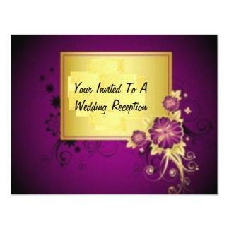 """Pretty  Purple Wedding Reception Invite 4.25"""" X 5.5"""" Invitation Card"""