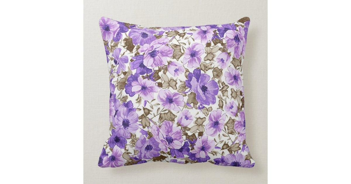 Pretty Purple & White Floral Throw Pillow Zazzle