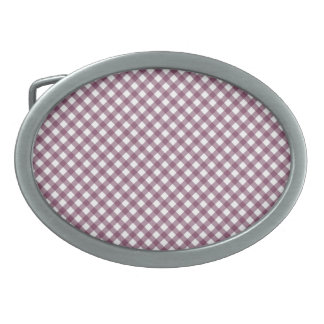Pretty Purple White Plaid Pattern Gifts for Her Oval Belt Buckles
