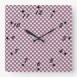 Pretty Purple White Plaid Pattern Gifts for Her Clocks