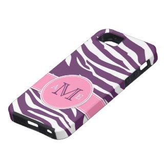 Pretty Purple & White Zebra stripes with pink iPhone SE/5/5s Case