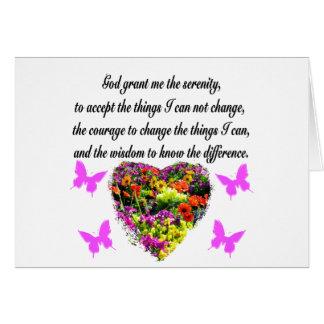 PRETTY PURPLE WILD FLOWER SERENITY PRAYER PHOTO CARD