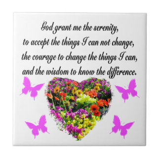 PRETTY PURPLE WILD FLOWER SERENITY PRAYER PHOTO CERAMIC TILE