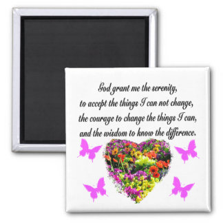 PRETTY PURPLE WILD FLOWER SERENITY PRAYER PHOTO MAGNET