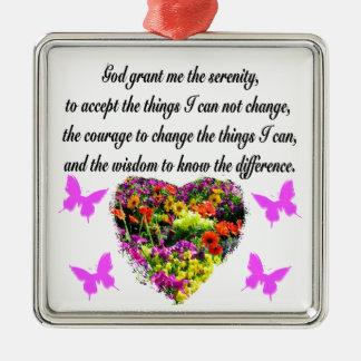PRETTY PURPLE WILD FLOWER SERENITY PRAYER PHOTO METAL ORNAMENT