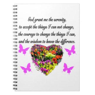 PRETTY PURPLE WILD FLOWER SERENITY PRAYER PHOTO NOTEBOOK