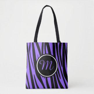 Pretty Purple Zebra Custom Monogram Tote Bag