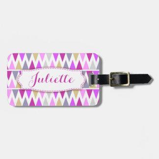 Pretty purple zigzag flags named luggage tag