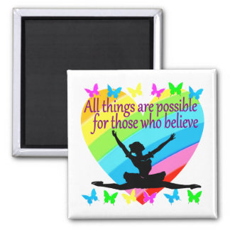 PRETTY RAINBOW ALL THINGS ARE POSSIBLE BALLERINA MAGNET
