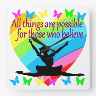 PRETTY RAINBOW ALL THINGS ARE POSSIBLE BALLERINA SQUARE WALL CLOCK