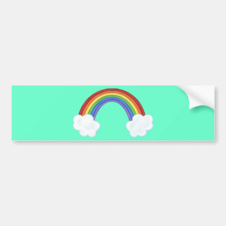 Pretty Rainbow And Clouds Bumper Sticker
