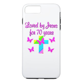 PRETTY RAINBOW AND CROSS 70TH BIRTHDAY DESIGN iPhone 7 PLUS CASE