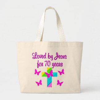 PRETTY RAINBOW AND CROSS 70TH BIRTHDAY DESIGN LARGE TOTE BAG