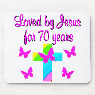 PRETTY RAINBOW AND CROSS 70TH BIRTHDAY DESIGN MOUSE PAD