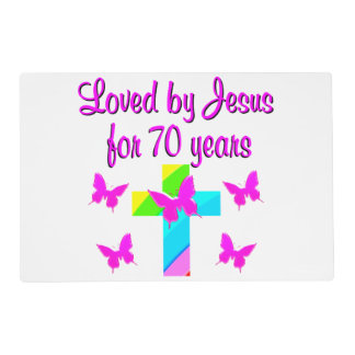 PRETTY RAINBOW AND CROSS 70TH BIRTHDAY DESIGN PLACEMAT