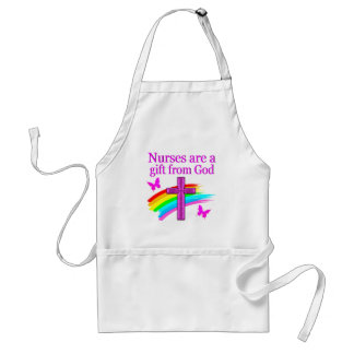 PRETTY RAINBOW AND CROSS NURSING DESIGN ADULT APRON