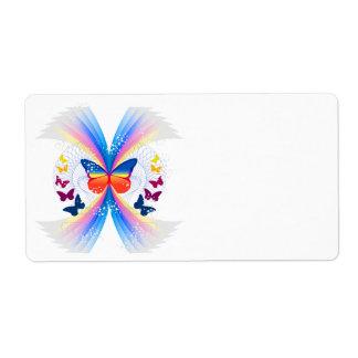 pretty rainbow butterflies swirl design label