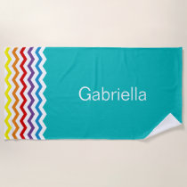 Pretty Rainbow Chevron Teal Pattern Personalized Beach Towel