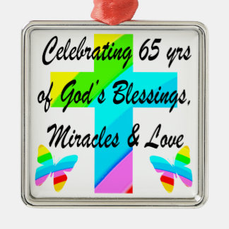 PRETTY RAINBOW CROSS 65TH BIRTHDAY DESIGN METAL ORNAMENT