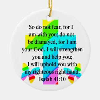 PRETTY RAINBOW CROSS ISAIAH 41:10 DESIGN CERAMIC ORNAMENT