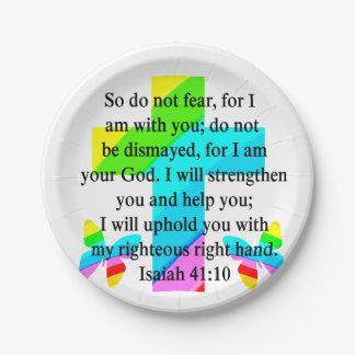 PRETTY RAINBOW CROSS ISAIAH 41:10 DESIGN PAPER PLATE
