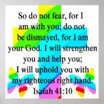 PRETTY RAINBOW CROSS ISAIAH 41:10 DESIGN POSTER