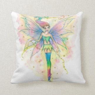 Pretty Rainbow Fairy in Stars Fantasy Art Pillow