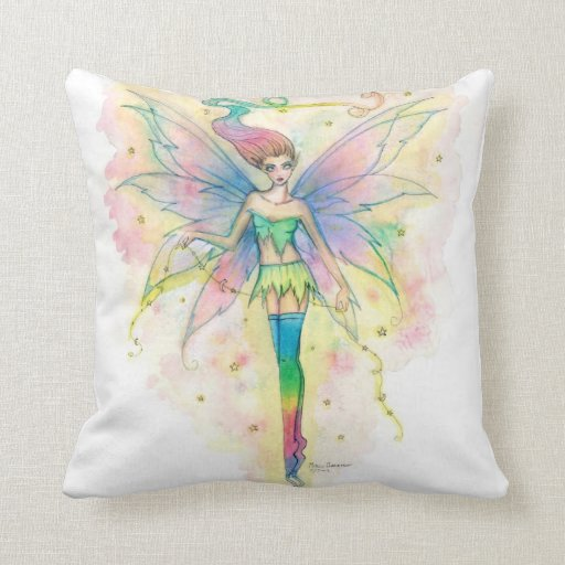 Pretty Rainbow Fairy in Stars Fantasy Art Pillow
