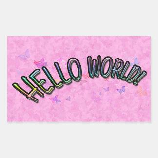 Pretty Rainbow Hello World Rectangular Sticker