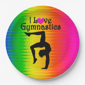 PRETTY RAINBOW I LOVED GYMNASTICS PAPER PLATES