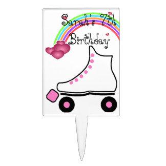 Pretty Rainbow Roller Skate Birthday Cake Topper