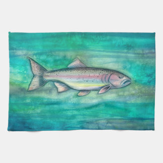 Pretty Rainbow Trout Watercolor Art Hand Towel