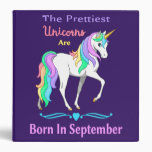 Pretty Rainbow Unicorns Are Born In July 3 Ring Binder