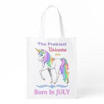 Pretty Rainbow Unicorns Are Born In July Grocery Bag
