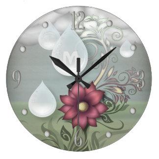 Pretty Raindrops Personalized Monogram Large Clock