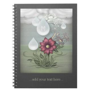 Pretty Raindrops Personalized Monogram Spiral Notebook