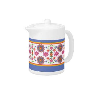 Pretty Rangoli Floral Borders China Teapot