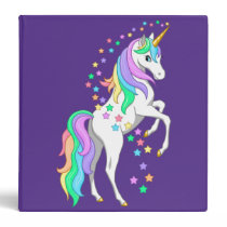 Pretty Rearing Rainbow Unicorn Falling Stars 3 Ring Binder