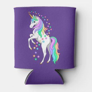Pretty Rearing Rainbow Unicorn Falling Stars Can Cooler