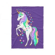 Pretty Rearing Rainbow Unicorn Falling Stars Fleece Blanket