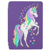 Pretty Rearing Rainbow Unicorn Falling Stars iPad Air Cover