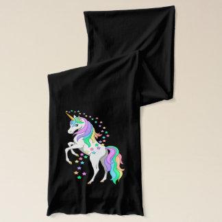 Pretty Rearing Rainbow Unicorn Falling Stars Scarf