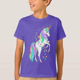 Pretty Rearing Rainbow Unicorn Falling Stars T-Shirt
