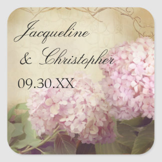 Pretty Reception Favor Seals Blush Pink Hydrangeas