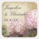 Pretty Reception Favor Seals Blush Pink Hydrangeas Square Sticker