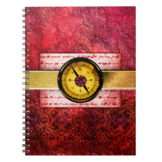 Pretty Red Ancient Tome Fantasy Scrapbook Spiral Notebook