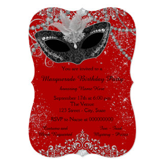 Pretty Red and Black Masquerade Party 5x7 Paper Invitation Card